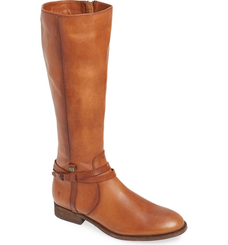 FRYE Melissa Belted Knee-High Riding Boot, Main, color, LIGHT COGNAC LEATHER