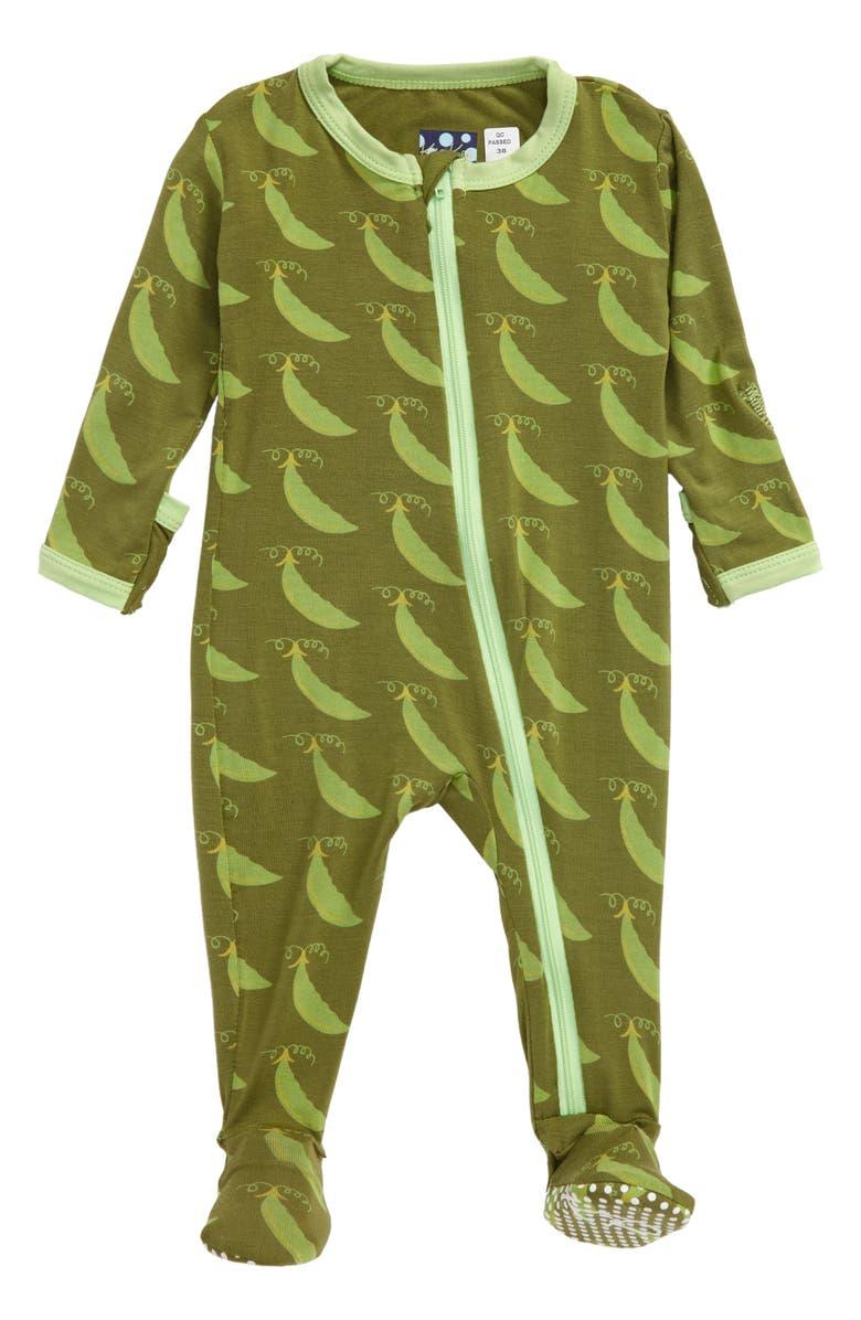 KICKEE PANTS Pea Pod Print Jersey Footie, Main, color, GRASSHOPPER SWEET PEAS