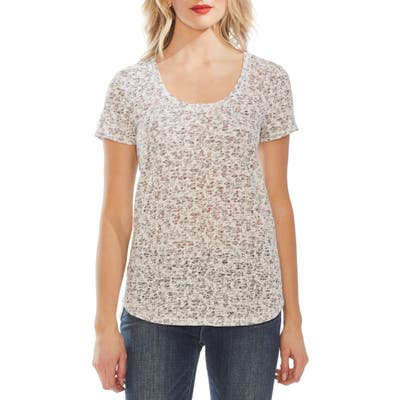 Vince Camuto Shadow Etching Burnout Tee, Ivory