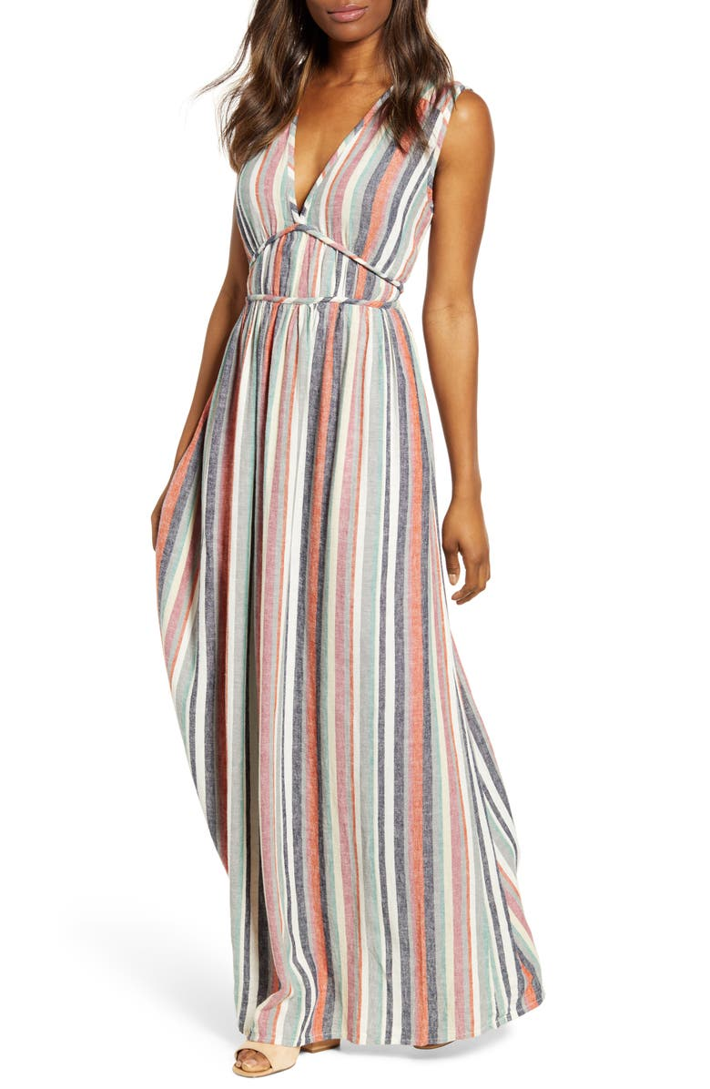 CASLON<SUP>®</SUP> Favorite Stripe Linen Blend Maxi Dress, Main, color, 260