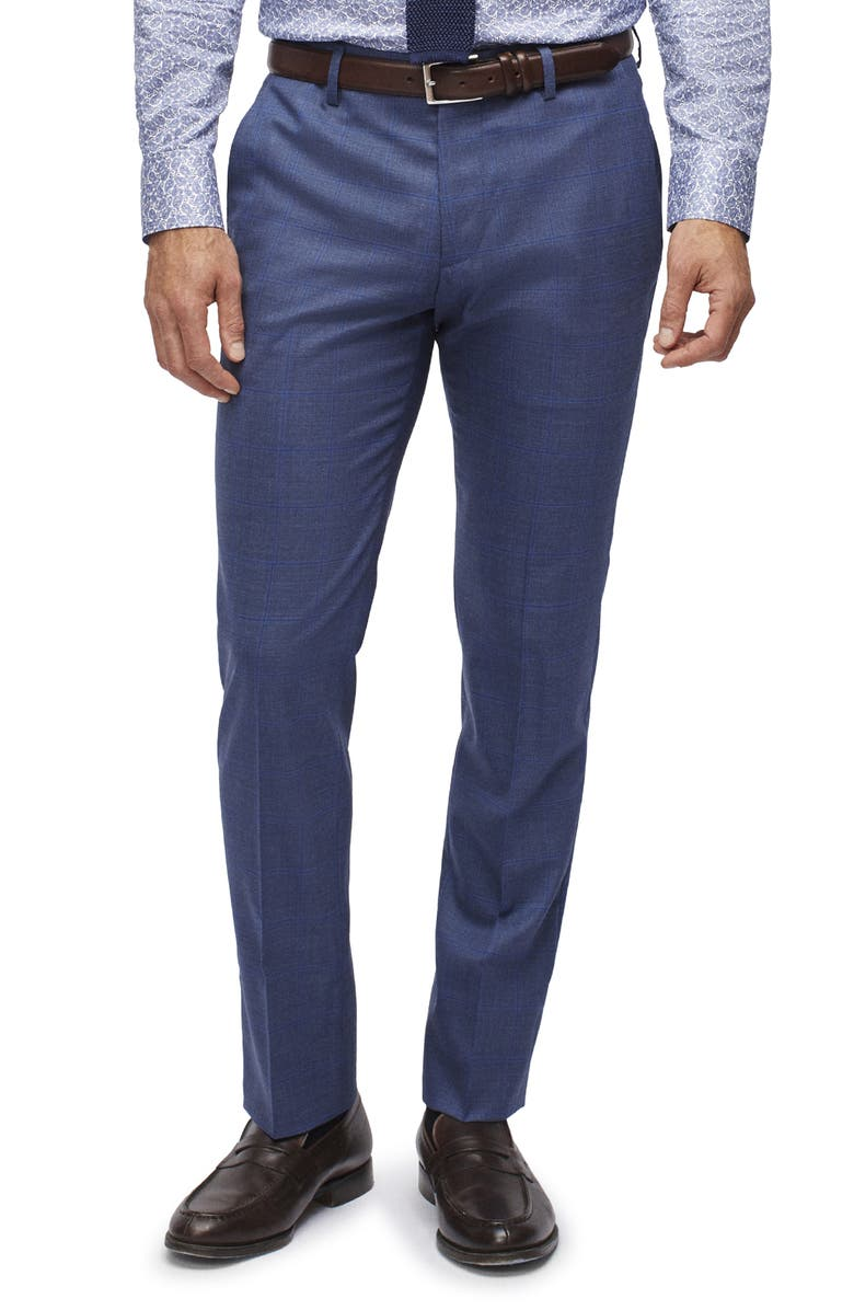 BONOBOS Jetsetter Regular Fit Windowpane Stretch Wool Trousers, Main, color, BRIGHT BLUE DECO CHECK