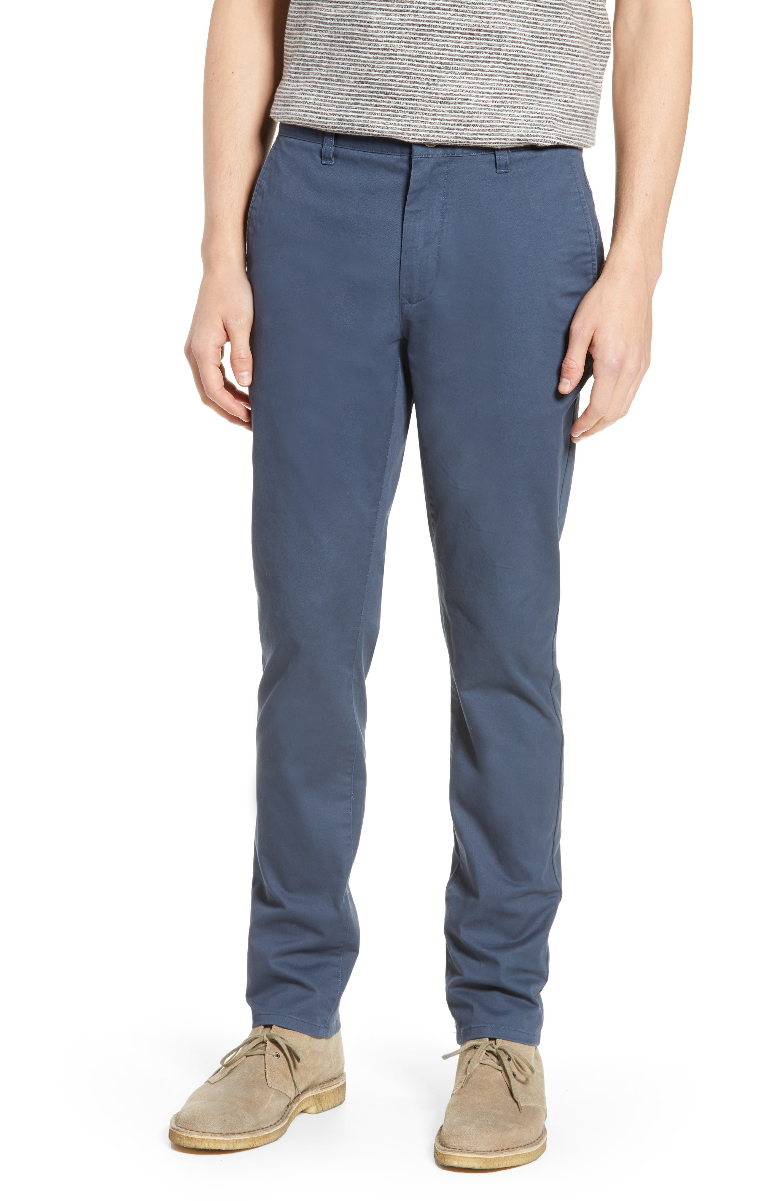 Tailored Fit Washed Stretch Cotton Chinos, Main, color, STEELY