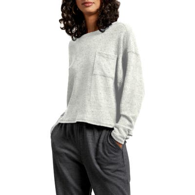 Michael Stars Long Sleeve Brushed Thermal Knit Top, Grey