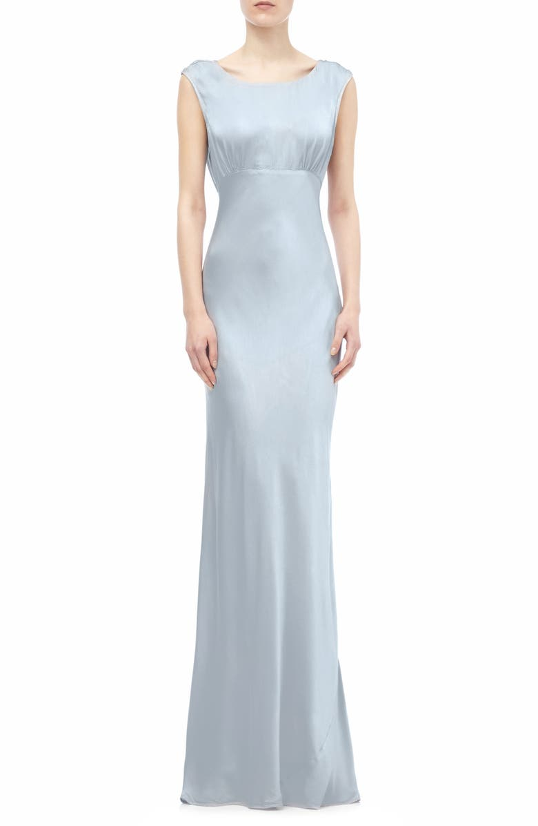 GHOST LONDON Salma Cowl Back Gown, Main, color, SILVER LAKE