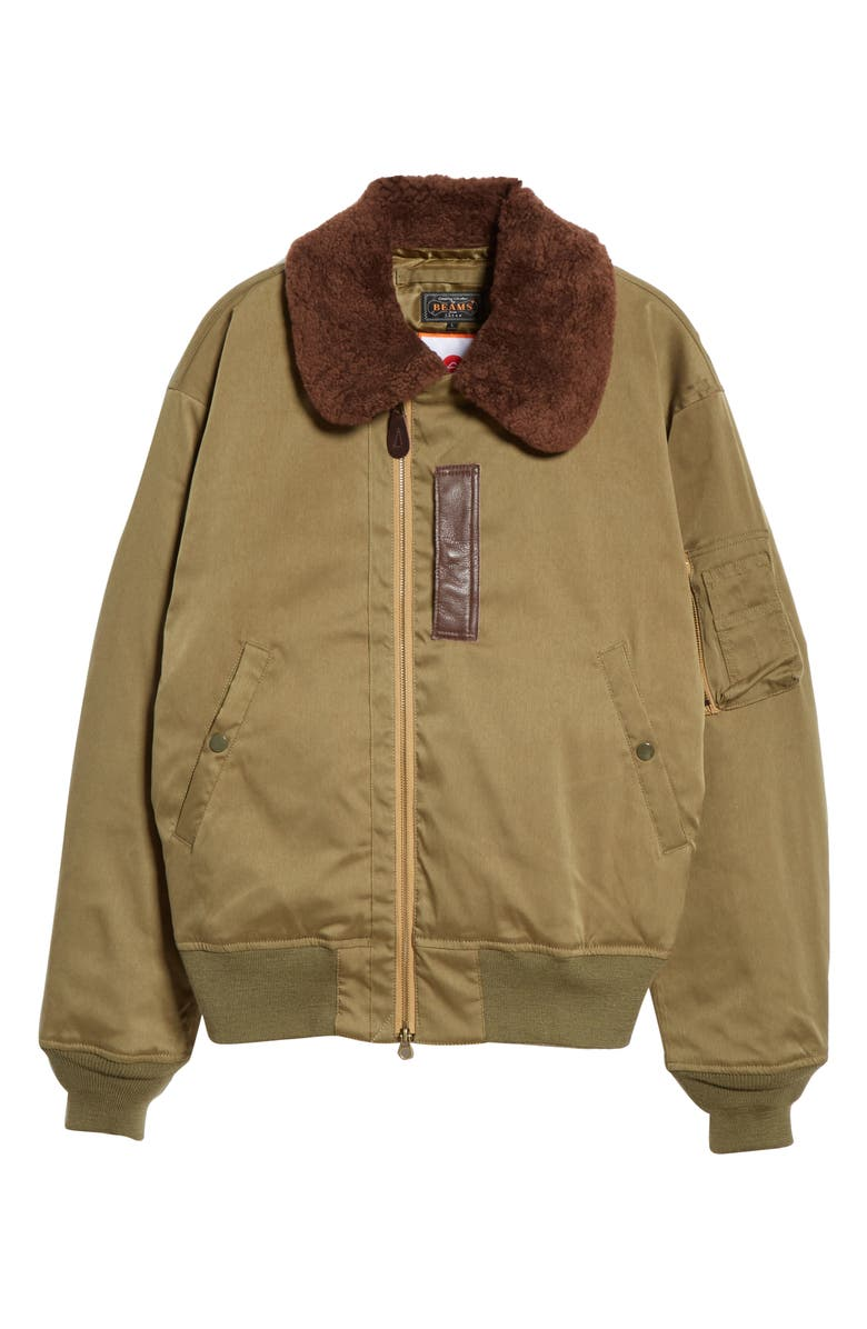 BEAMS PLUS B-15 Down & Feather Fill Jacket with Genuine Shearling Collar, Main, color, 300