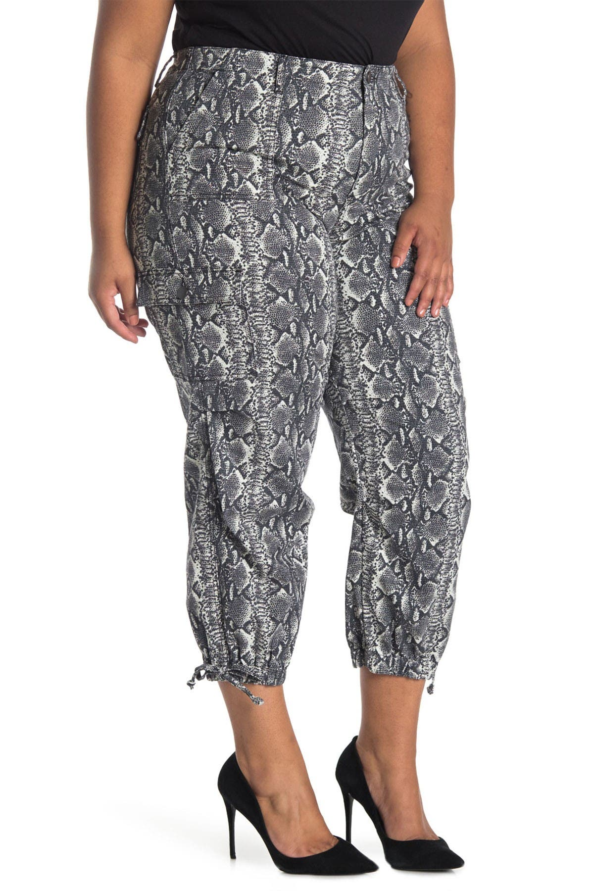 Image of alice + olivia Snake Printed Cargo Pants