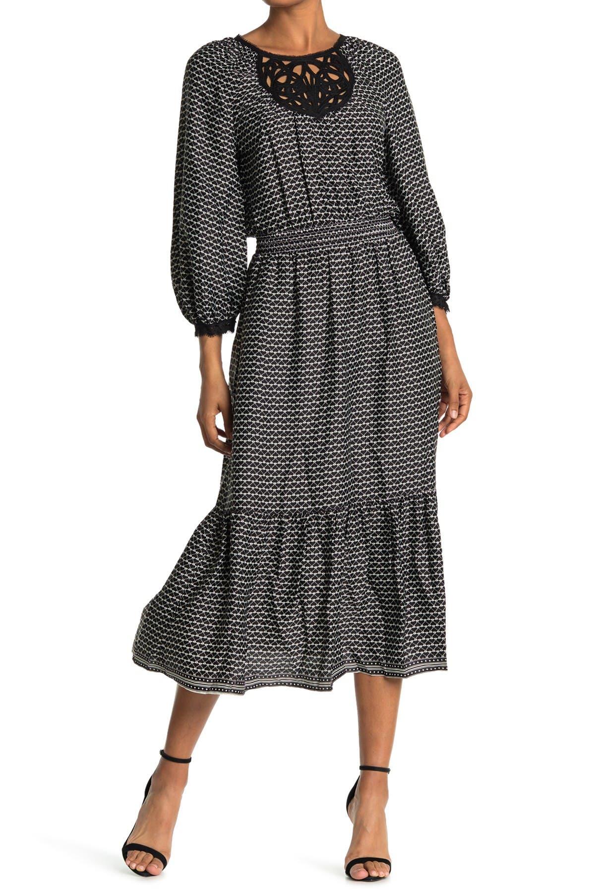 Image of Max Studio Printed Flounce Hem Midi Dress