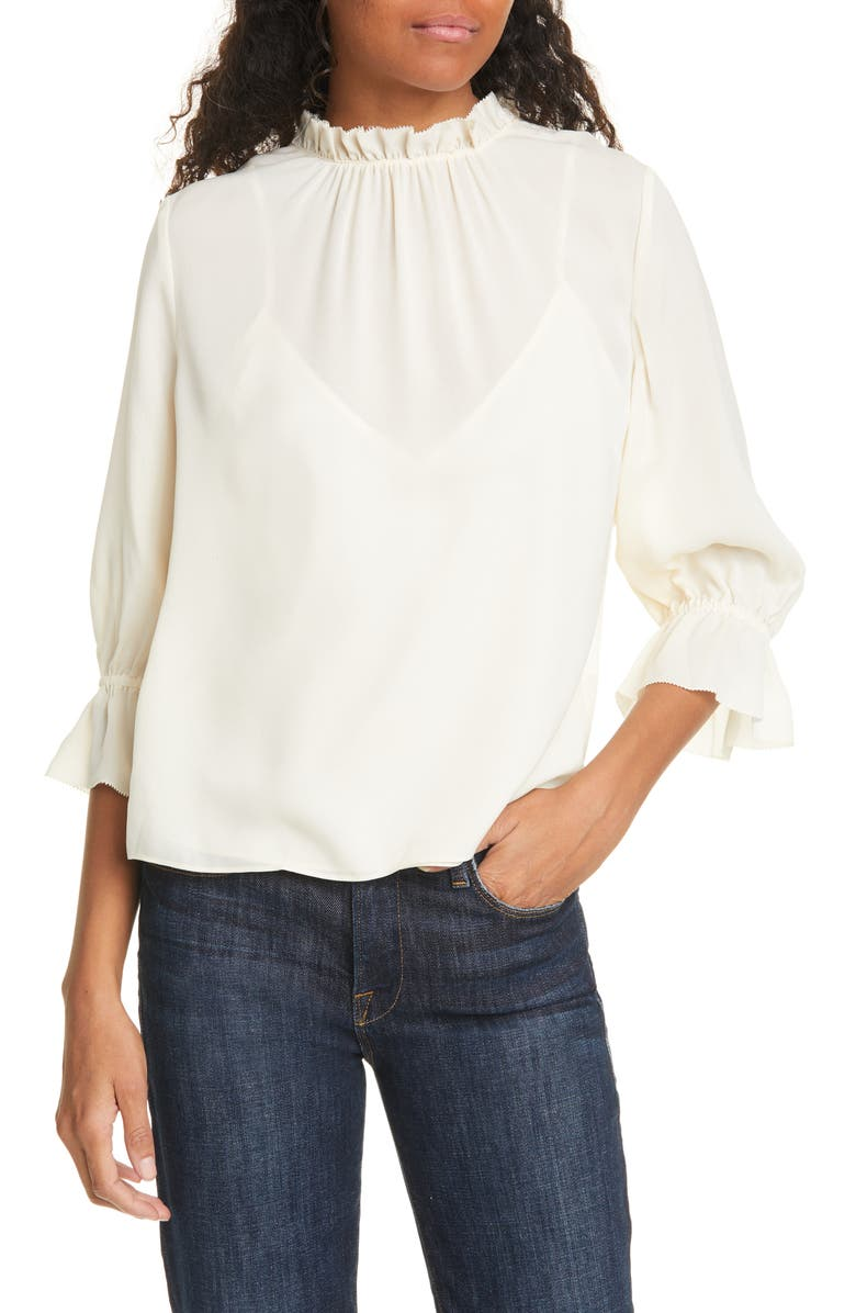 FRAME Brooke Ruffle Trim Silk Top, Main, color, 900
