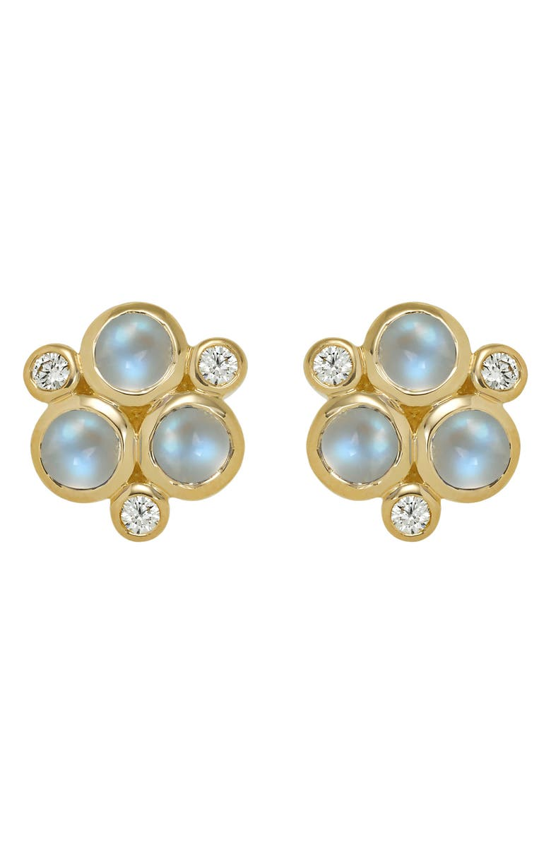 TEMPLE ST. CLAIR Classic Trio Moonstone Earrings, Main, color, YELLOW GOLD/ BLUE MOONSTONE