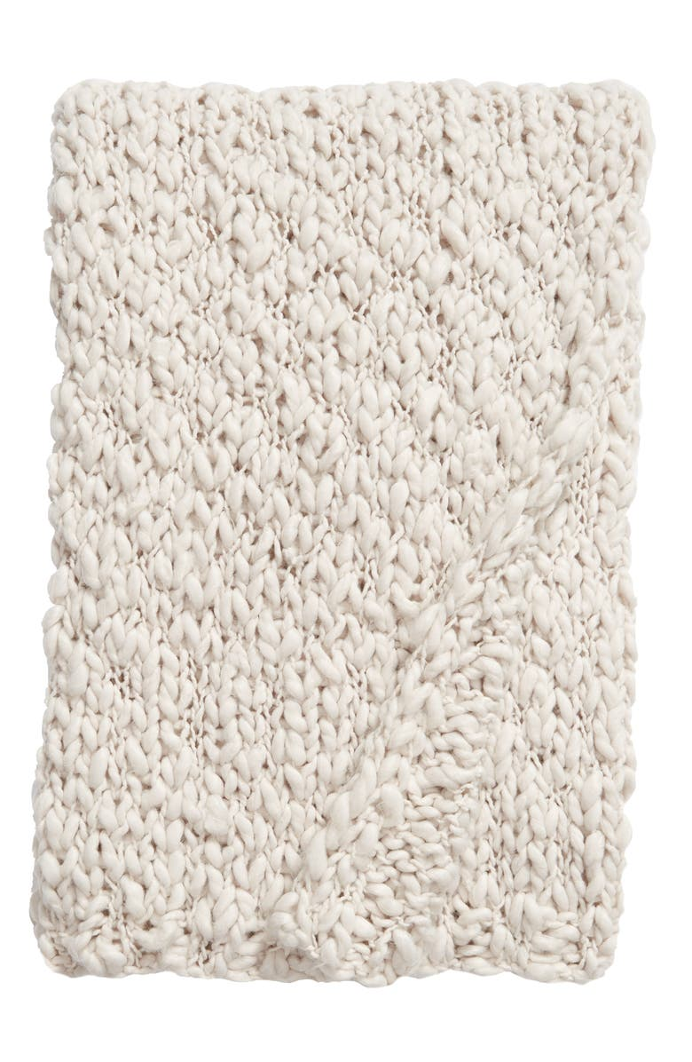 TREASURE & BOND Knit Throw, Main, color, GREY CHIME