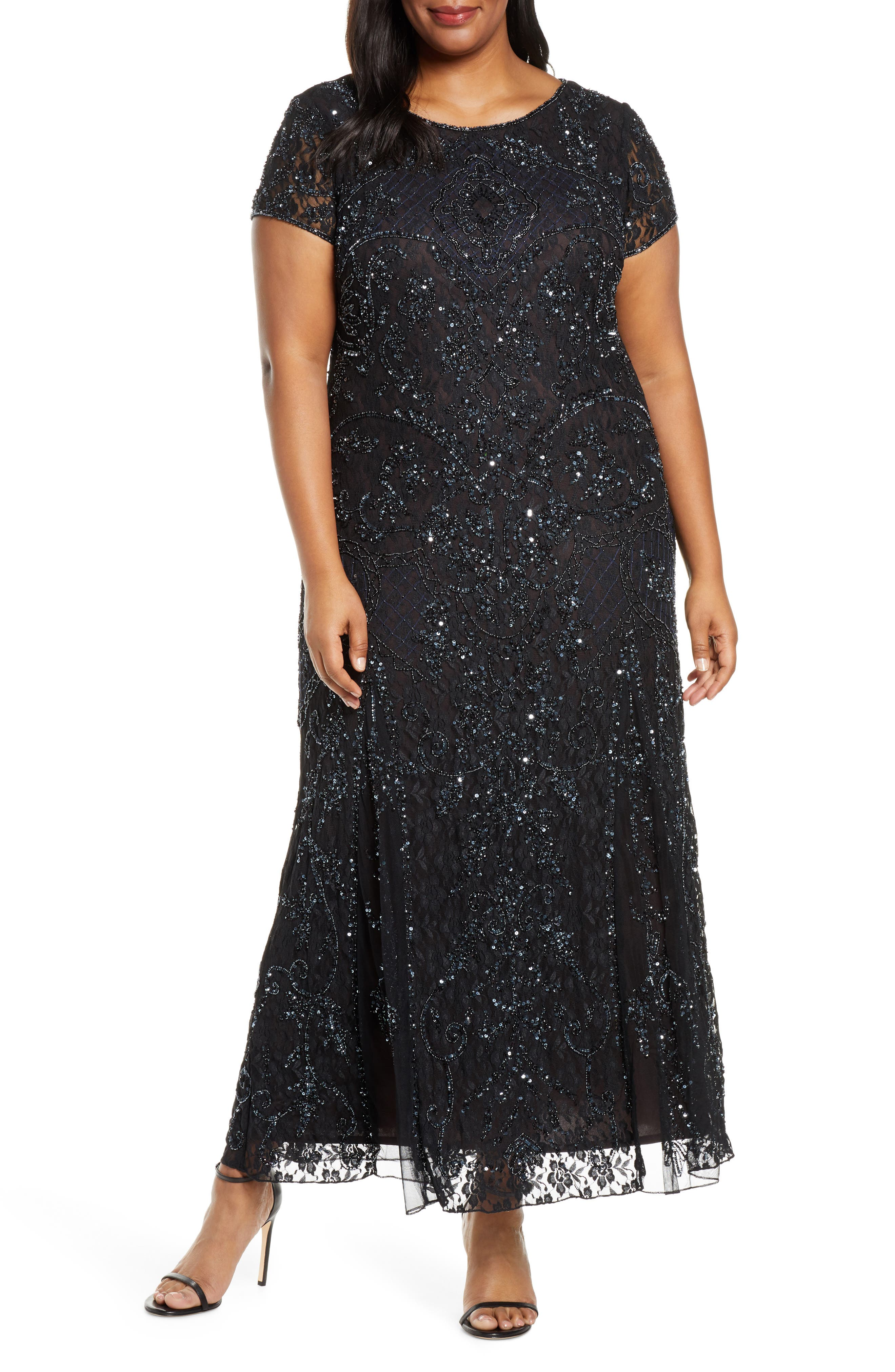 Authentic 1920s Makeup Tutorial Plus Size Womens Pisarro Nights Embellished Lace A-Line Dress Size 14W - Black $258.00 AT vintagedancer.com