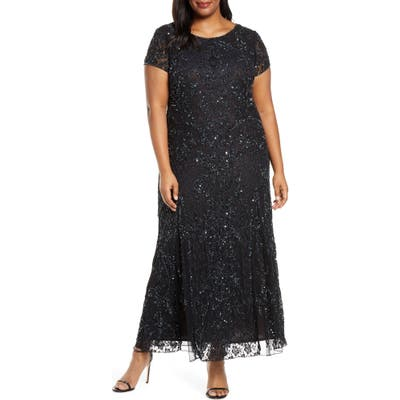 Plus Size Pisarro Nights Embellished Lace A-Line Dress