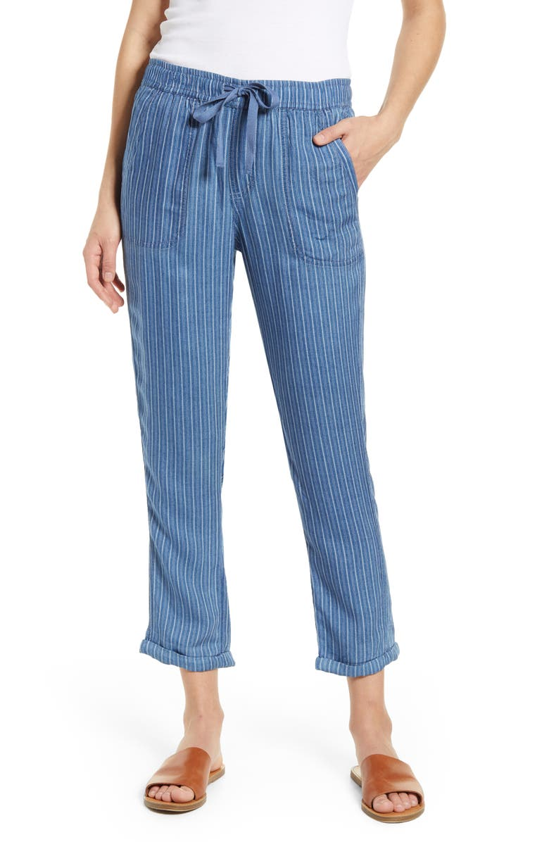 CASLON<SUP>®</SUP> Stripe Drawcord Pants, Main, color, IVORY- NAVY CHAMBRAY STRIPE