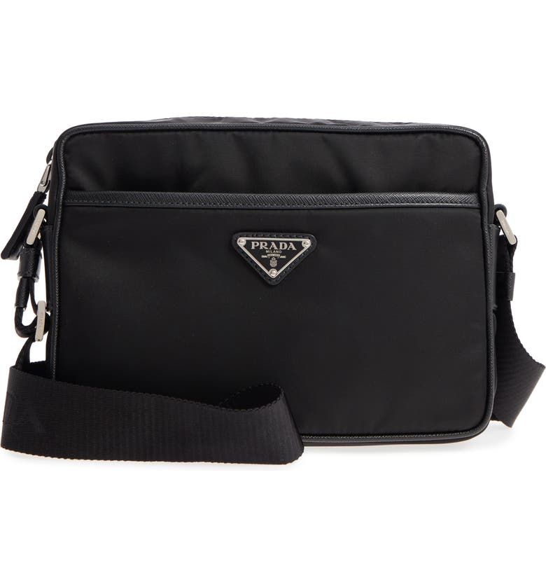 PRADA Tessuto Saffiano Leather Messenger Bag, Main, color, BLACK