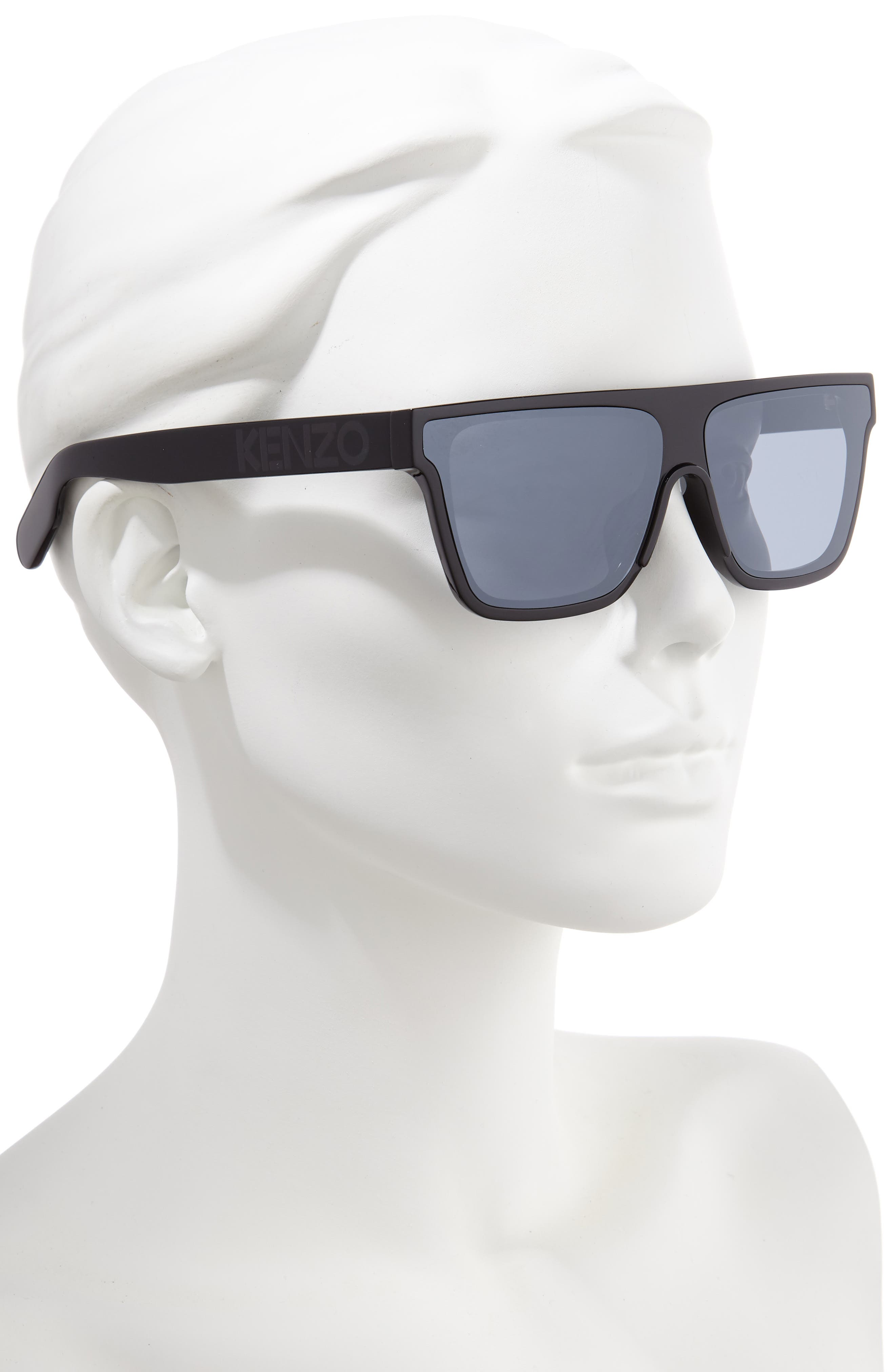 ,                             67mm Special Fit Oversize Flat Top Sunglasses,                             Alternate thumbnail 2, color,                             SHINY BLACK/ SMOKE MIRROR