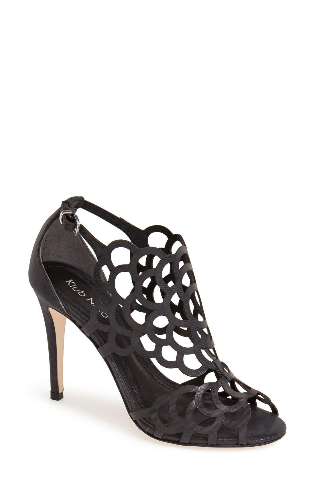 'Millie' Cutout Sandal, Main, color, BLACK