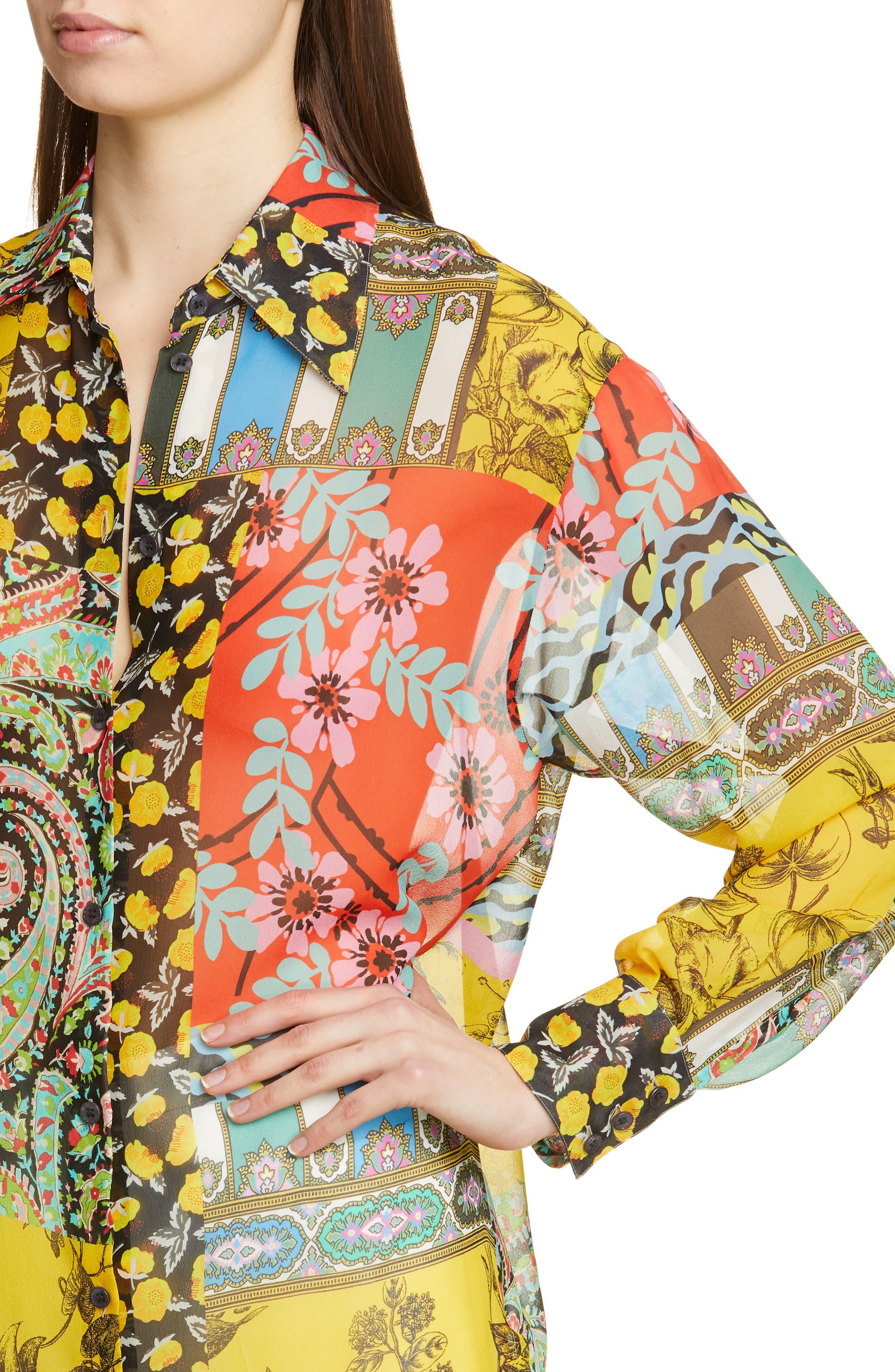 ,                             Patchwork Print Silk Tunic,                             Alternate thumbnail 4, color,                             YELLOW