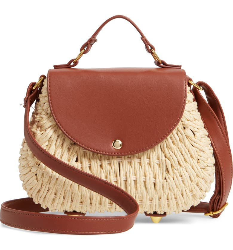 LA DOUBLE 7 Faux Leather Trim Straw Saddle Bag, Main, color, 250