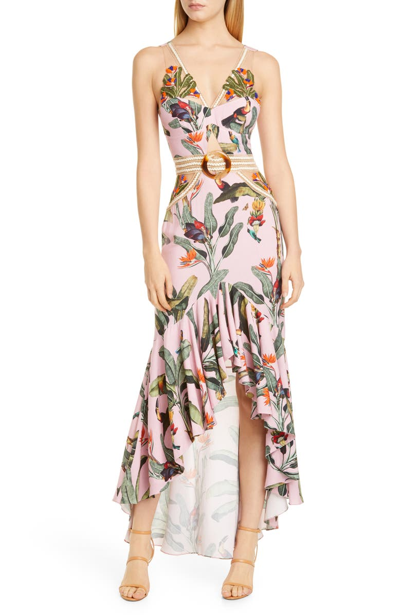 PATBO Tropical Cutout High/Low Gown, Main, color, POP PINK