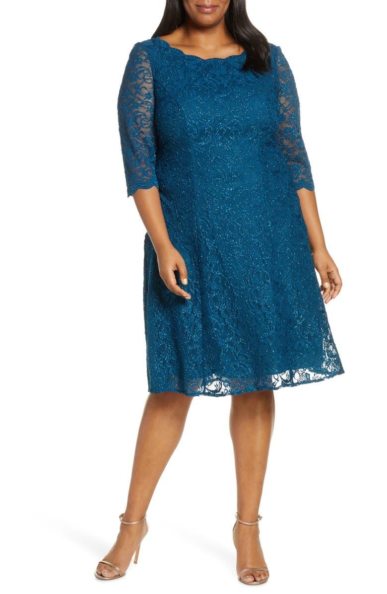 ALEX EVENINGS Embellished Lace A-Line Dress, Main, color, DEEP TEAL