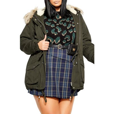 Plus Size City Chic Londoner Hooded Parka With Faux Fur Trim, Green
