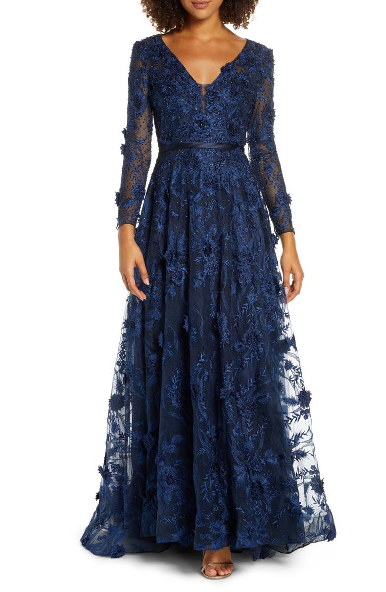 MAC DUGGAL Long Sleeve Floral Appliqué Mesh Gown, Main, color, NAVY