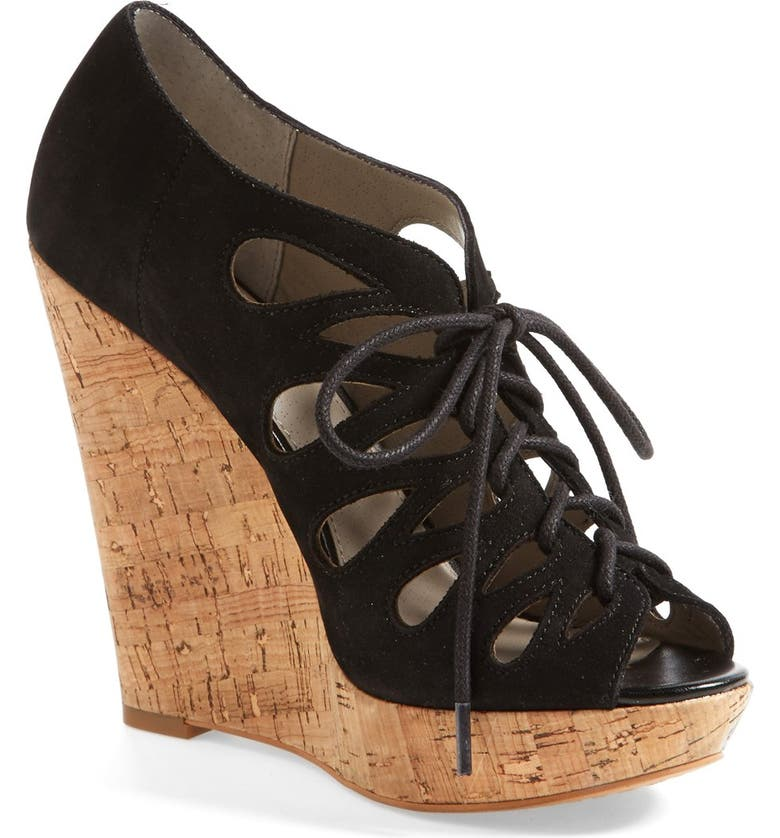 HINGE <sup>®</sup> 'Mixxy' Lace-Up Wedge Sandal, Main, color, 001