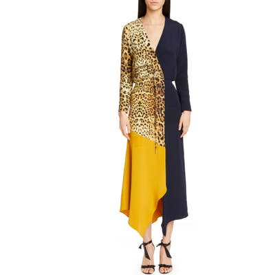 Cushnie Leopard Colorblock Long Sleeve Silk Dress, Beige