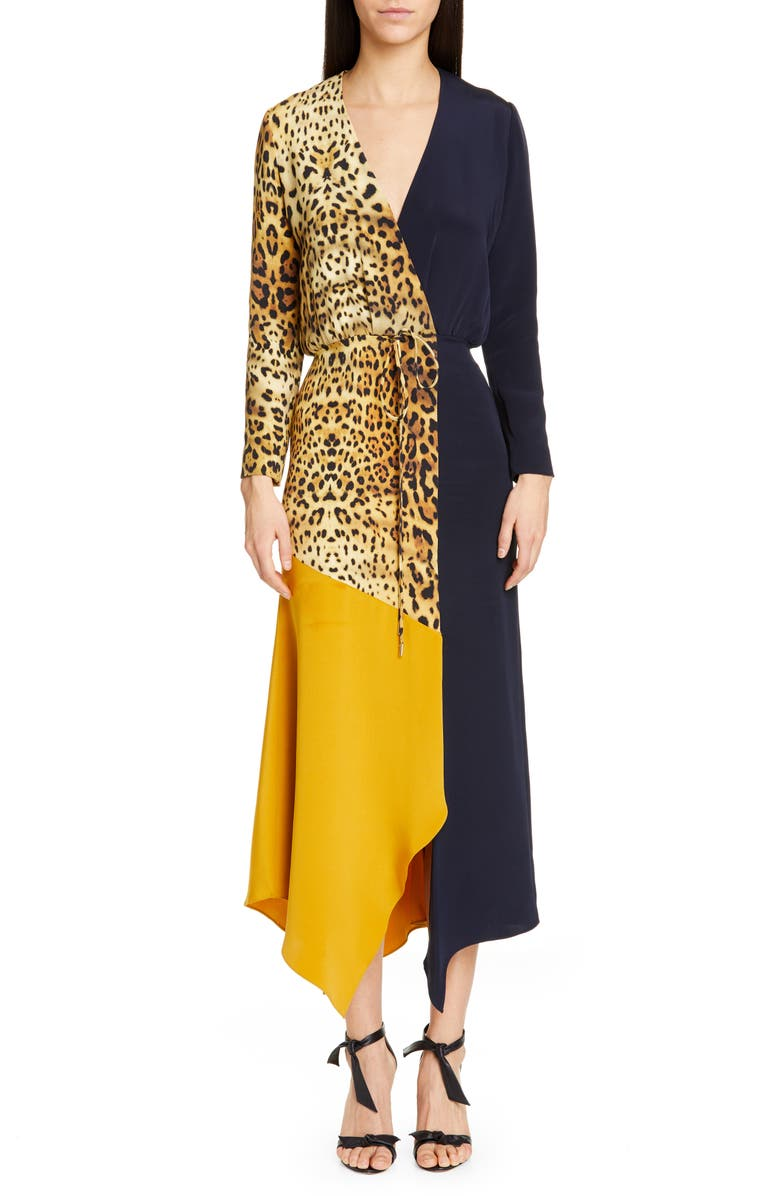 CUSHNIE Leopard Colorblock Long Sleeve Silk Dress, Main, color, TAN LEOPARD/ NAVY/ GOLD