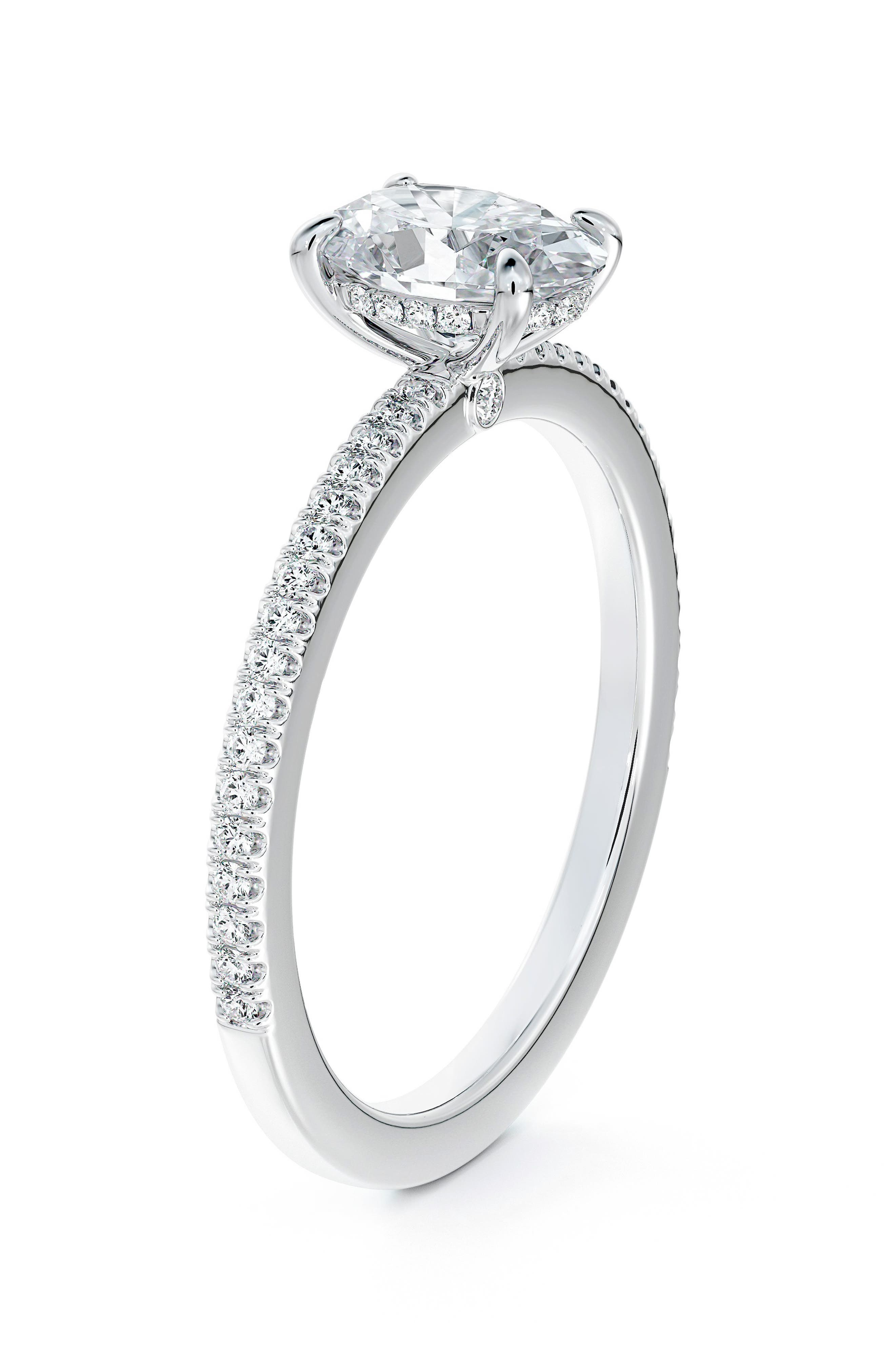 X Micaela Simply Solitaire Oval Diamond Engagement Ring With Diamond Band