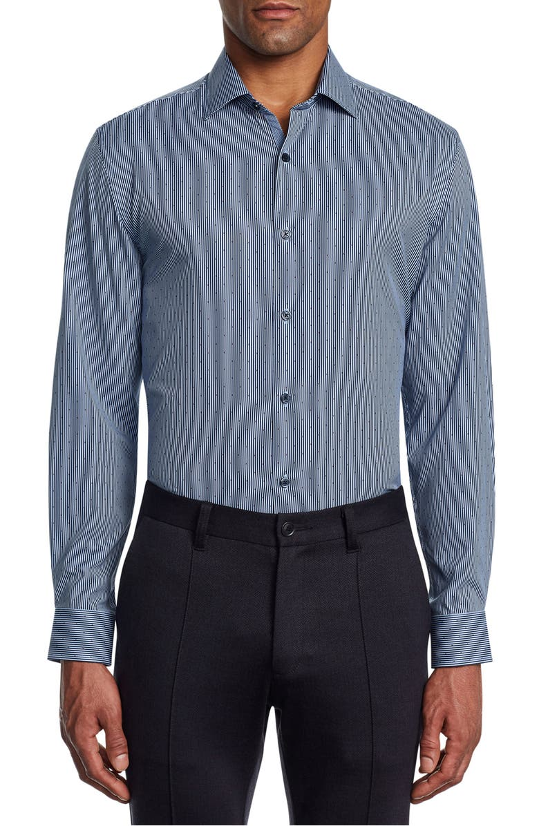 W.R.K Trim Fit Mini Dot Performance Dress Shirt, Main, color, NAVY/ RED