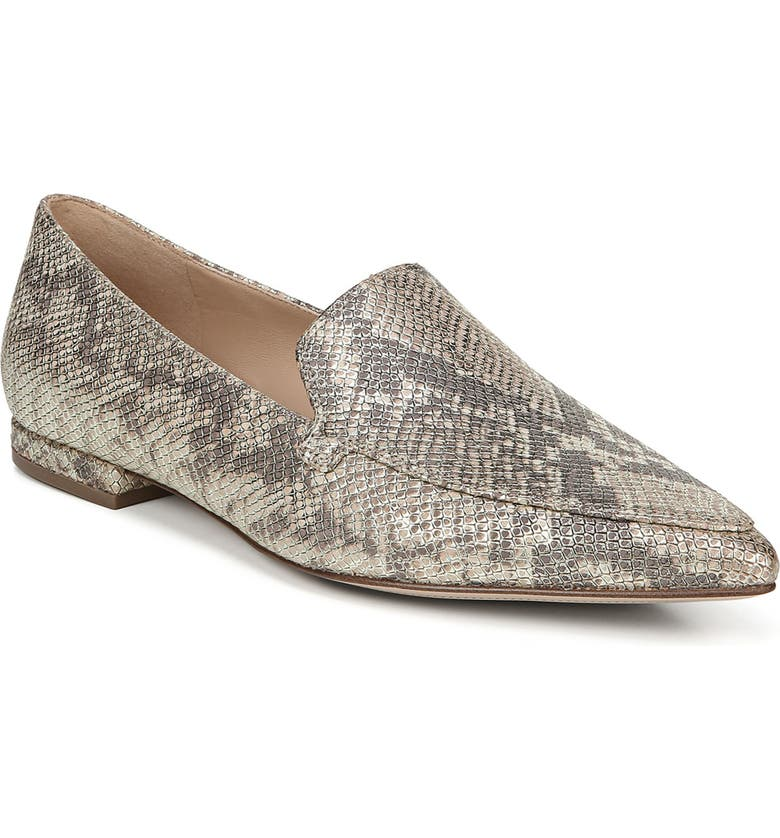 27 EDIT Hannah Pointed Toe Loafer, Main, color, GOLD SNAKE PRINT LEATHER