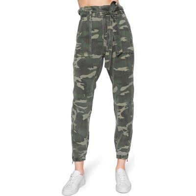 Pam & Gela Camo Paperbag Waist Pants, Green