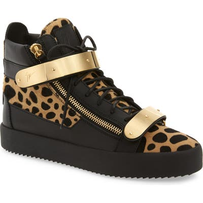 Giuseppe Zanotti Gold Bar Genuine Calf Hair Sneaker, Beige