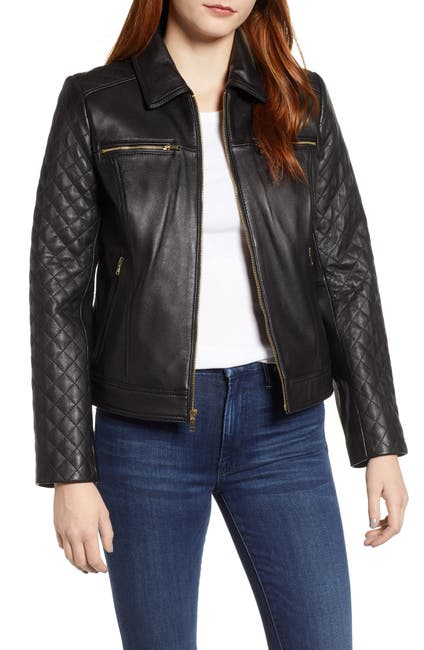 Image of Cole Haan Quilted Lambskin Leather Jacket