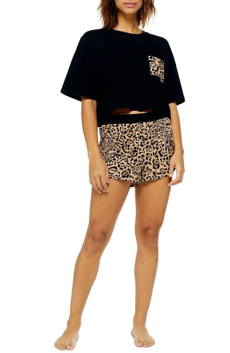 TOPSHOP Boxy Leopard Print Pajamas, Main, color, BLACK MULTI