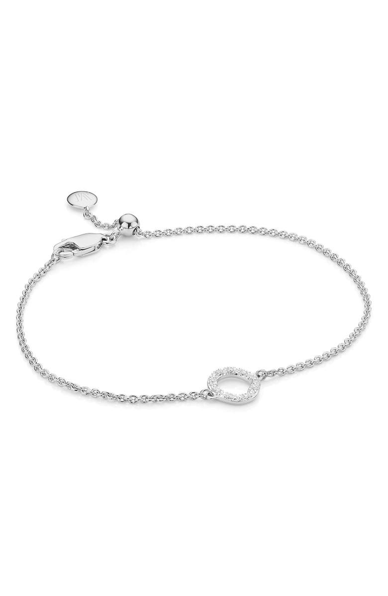 MONICA VINADER Riva Mini Circle Diamond Bracelet, Main, color, SILVER/ DIAMOND