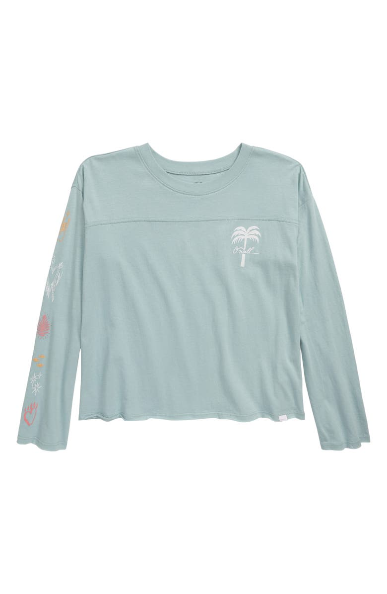 O'NEILL Starry Graphic Print Long Sleeve Cotton Tee, Main, color, STONE BLUE