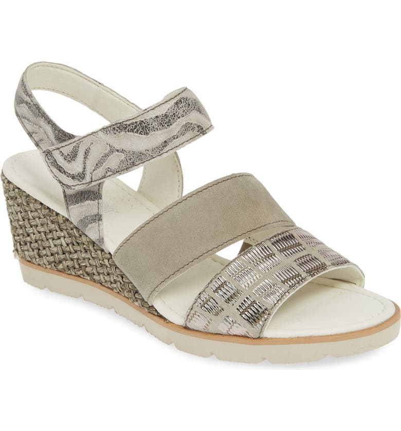 GABOR Espadrille Wedge Sandal, Main, color, GREY PRINT LEATHER