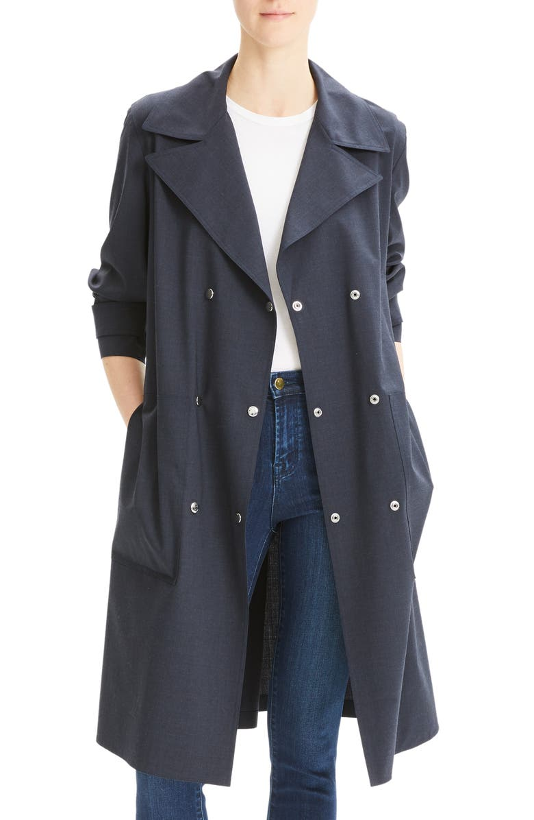 THEORY Stretch Wool Military Trench Coat, Main, color, 400