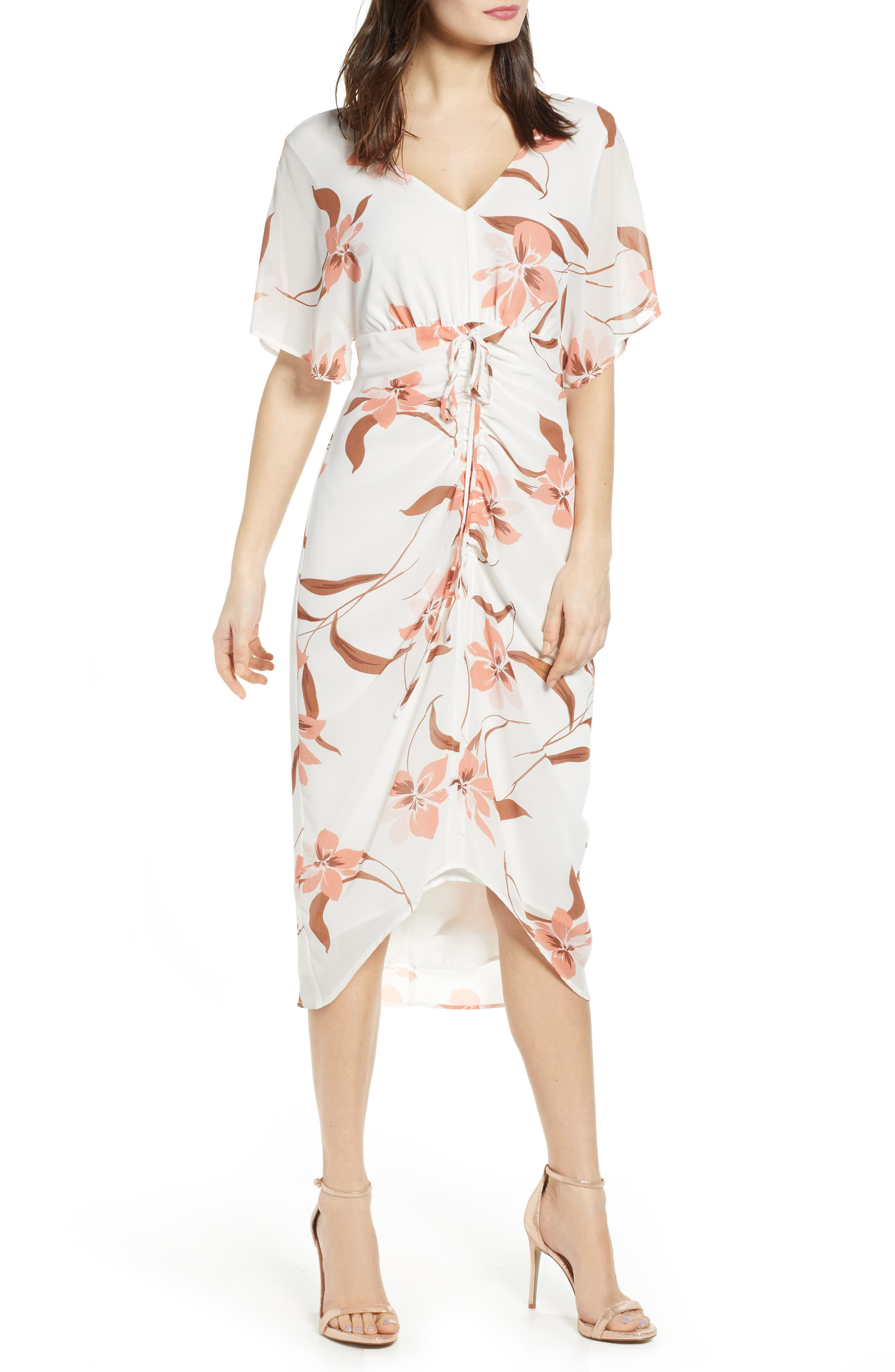 Leith Floral Ruched Midi Dress, Ivory