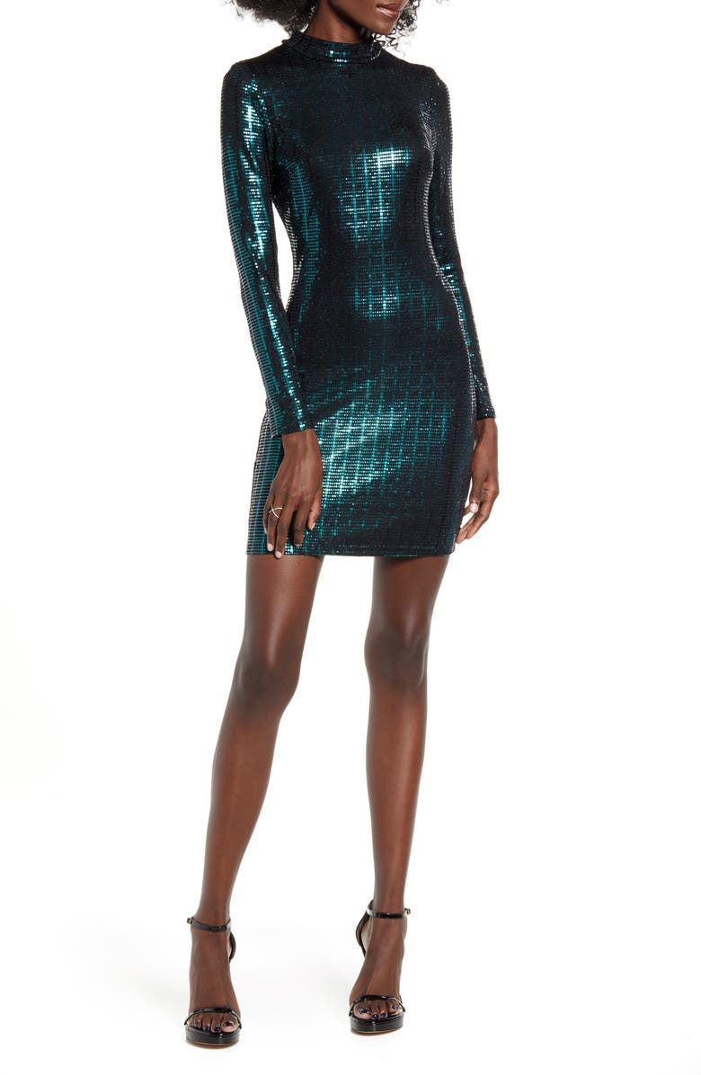 SPEECHLESS Glitter Long Sleeve Body-Con Dress, Main, color, BLACK HUNTER