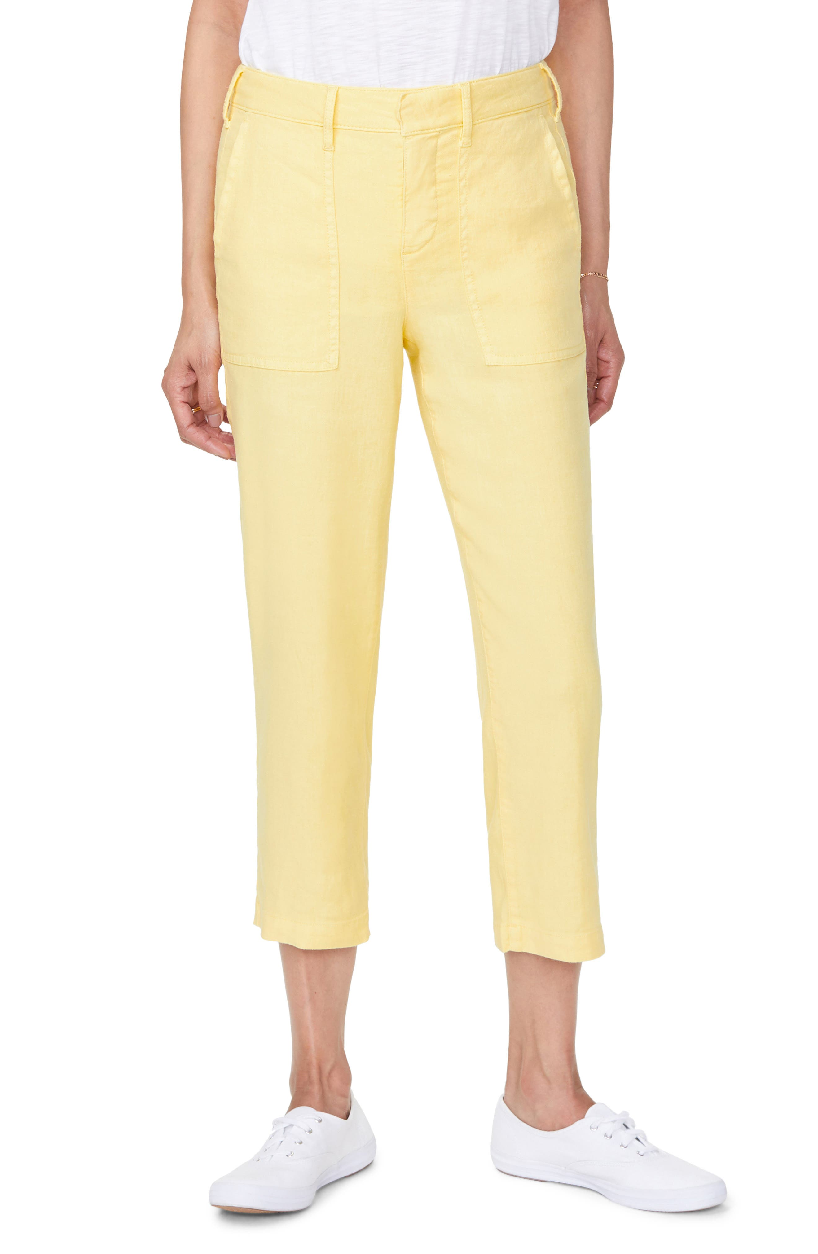 Women's Nydj Utility Crop Linen Blend Pants,  6 - Yellow