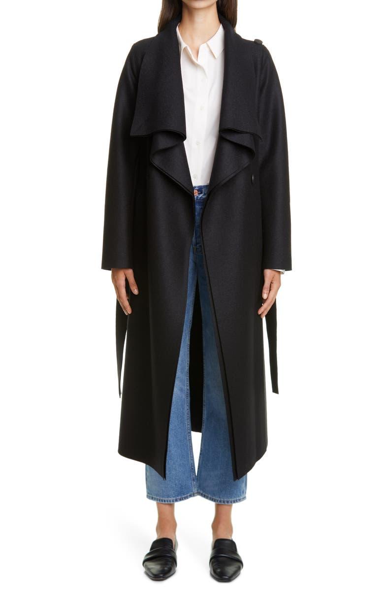 HARRIS WHARF LONDON Volcano Belted Wool Coat, Main, color, BLACK