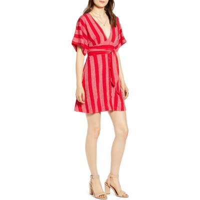 Moon River Button Front Plunging Linen Blend Minidress, Red