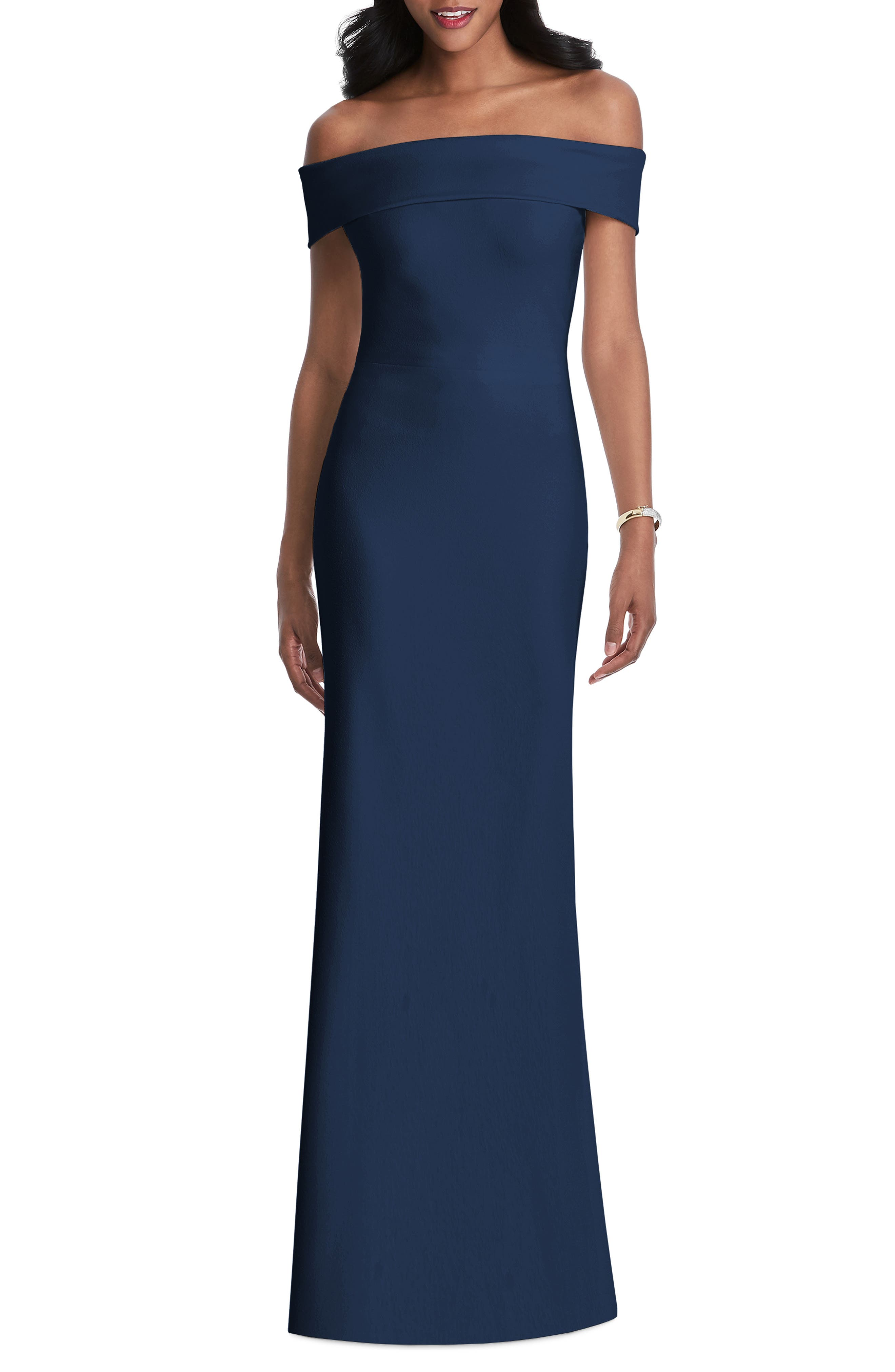 After Six Off The Shoulder Stretch Crepe Gown, Blue