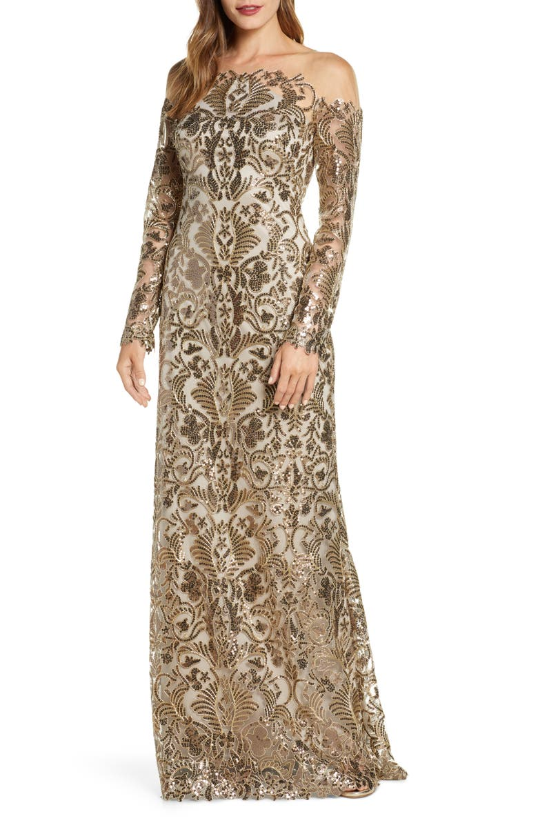 TADASHI SHOJI Embellished Illusion Long Sleeve Evening Gown, Main, color, ANTIQUE