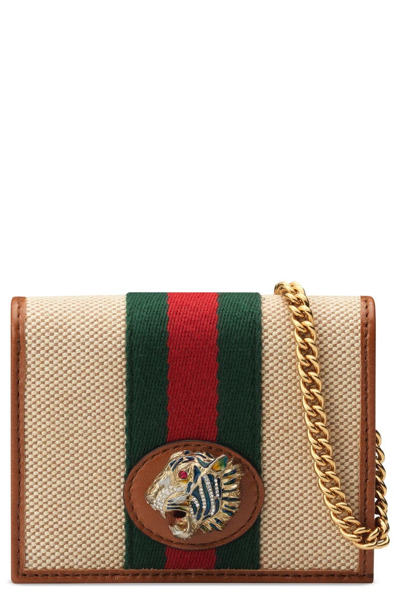 GUCCI Rajah Calfskin Canvas Card Case on a Chain, Main, color, SAND/ LIT CUIR/ VERT RED MULTI