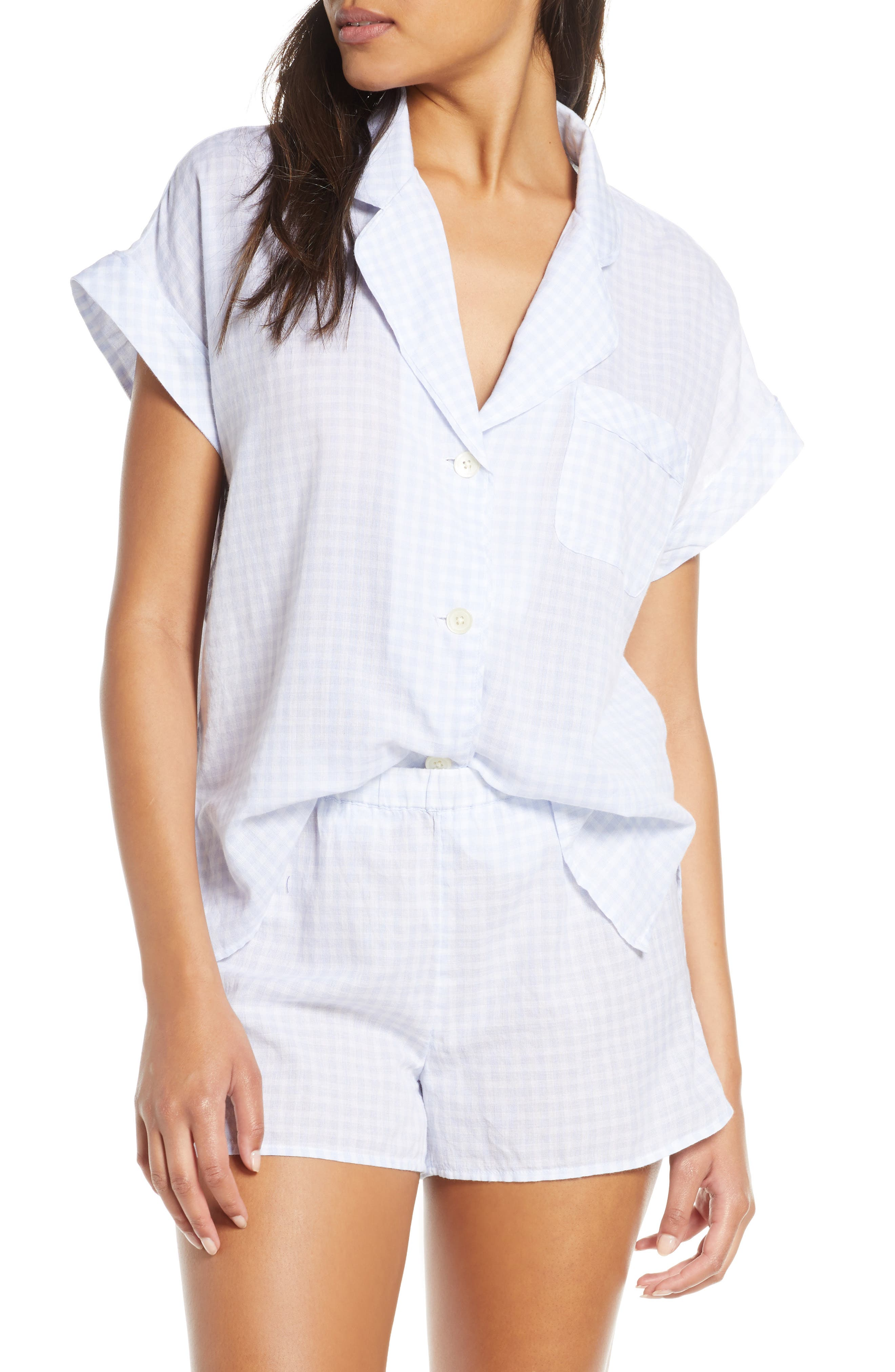 Plus Size Madewell Gingham Bedtime Pajama Top, Size - Blue
