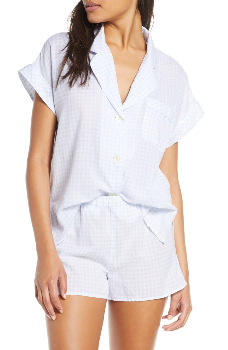 MADEWELL Gingham Bedtime Pajama Top, Main, color, BESSY GINGHAM CRAFT BLUE